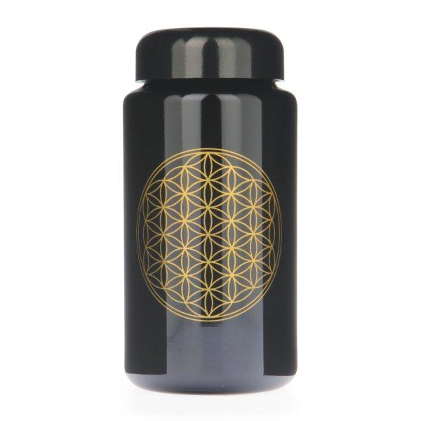 Violettglas Flasche mit Lebensblume 400 ml weit