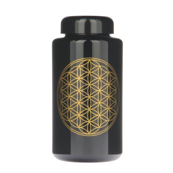 Violettglas Flasche mit Lebensblume 300 ml weit