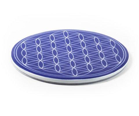 Lebensblume Untersetzer blau Porzellan