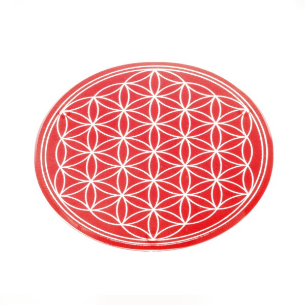 Glasuntersetzer mit Lebensblume 12,5 cm rot