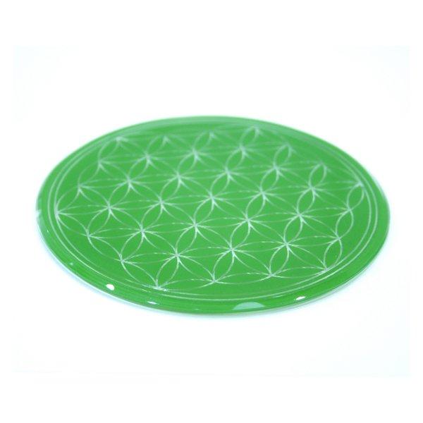 Glasuntersetzer mit Lebensblume 12,5 grün