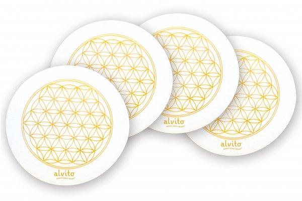 Alvito Energie Untersetzer mit Lebensblume 4er Set