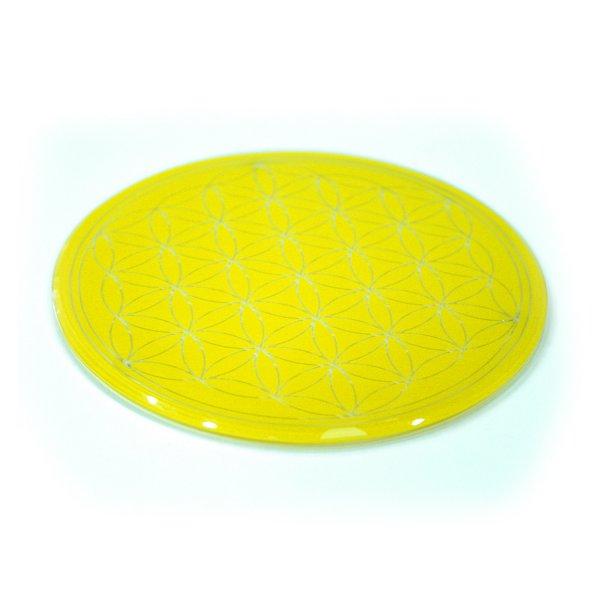 Glasuntersetzer mit Lebensblume 12,5 cm gelb