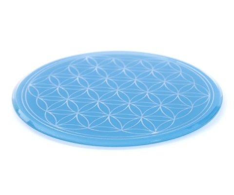 Glasuntersetzer mit Lebensblume 12,5 cm hellblau